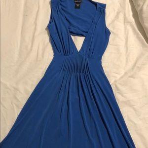 Blue open back mid-length dress